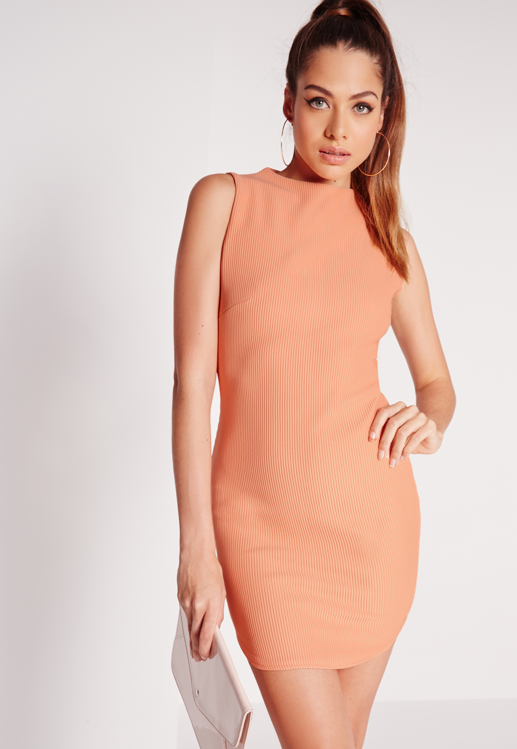 Sleeveless Ribbed Neck Bodycon Dress Salmon, Salmon - length: mid thigh; fit: tight; pattern: plain; sleeve style: sleeveless; neckline: high neck; style: bodycon; predominant colour: coral; occasions: evening; fibres: viscose/rayon - stretch; sleeve length: sleeveless; texture group: jersey - clingy; pattern type: fabric; season: s/s 2016; wardrobe: event