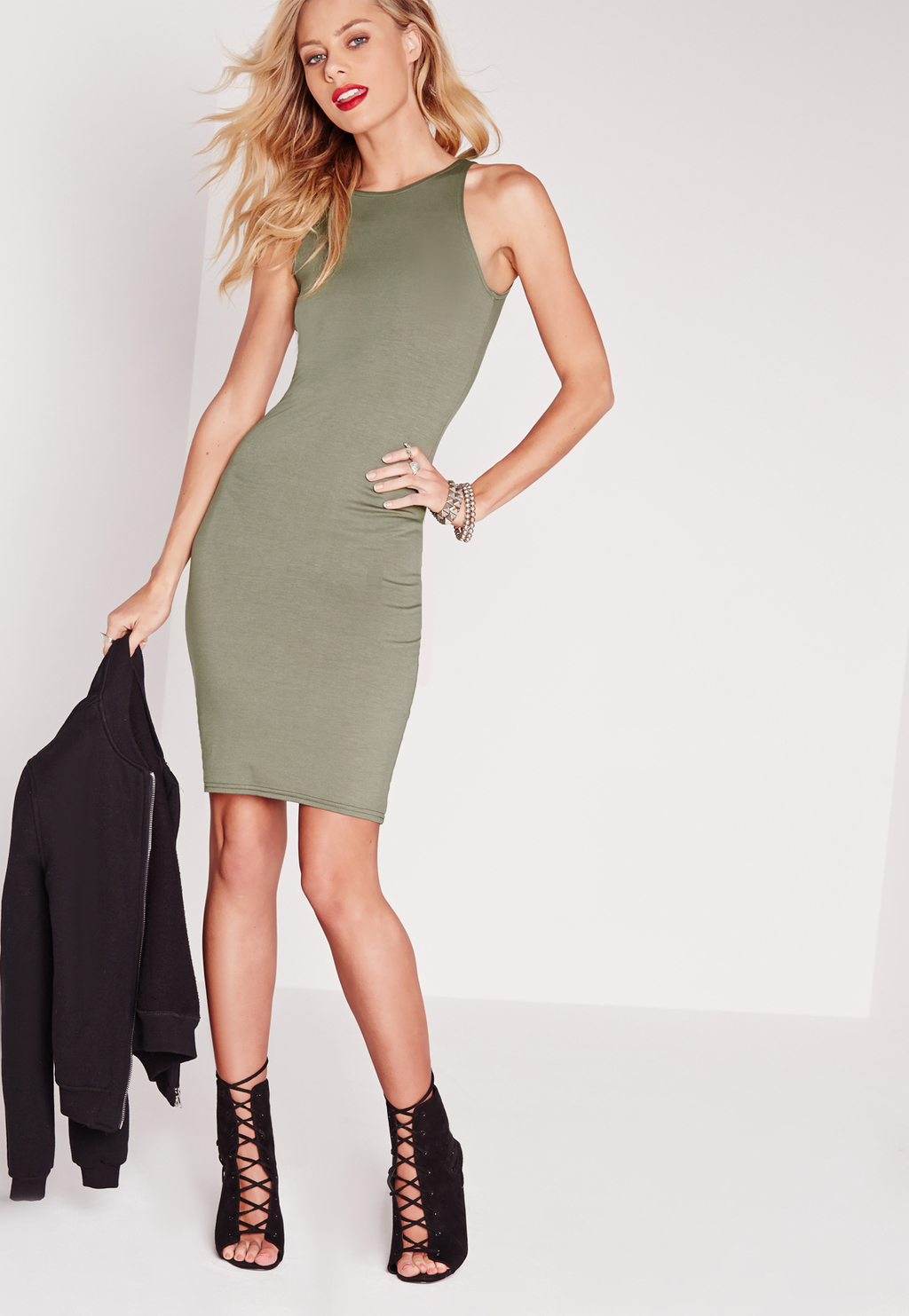 Jersey Racer Front Bodycon Dress Khaki, Beige - fit: tight; pattern: plain; sleeve style: sleeveless; style: bodycon; predominant colour: khaki; occasions: evening; length: just above the knee; fibres: polyester/polyamide - stretch; neckline: crew; sleeve length: sleeveless; texture group: jersey - clingy; pattern type: fabric; season: s/s 2016; wardrobe: event