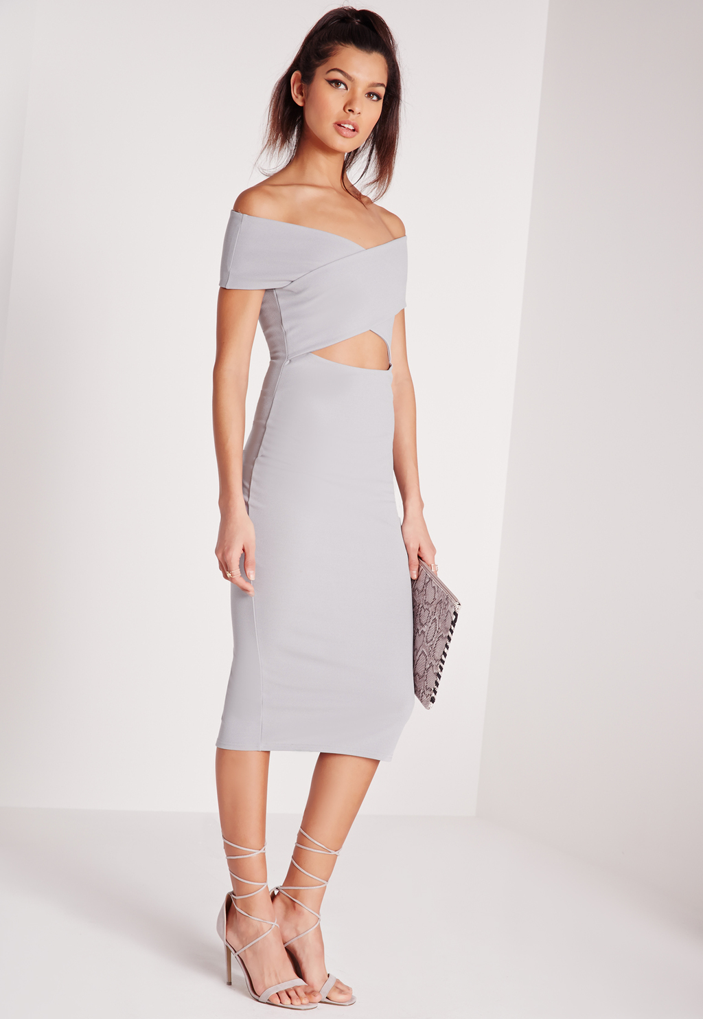 Cut Out Bardot Midi Dress Grey, Ice Grey - length: below the knee; neckline: off the shoulder; fit: tight; pattern: plain; style: bodycon; predominant colour: light grey; occasions: evening; fibres: viscose/rayon - stretch; waist detail: cut out detail; sleeve length: short sleeve; sleeve style: standard; texture group: jersey - clingy; pattern type: fabric; season: s/s 2016