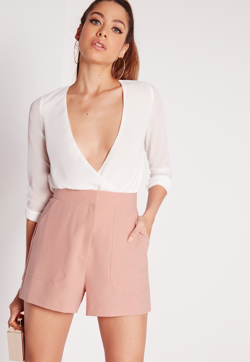 Front Pocket Tailored Shorts Pink, Pink - waist: high rise; predominant colour: blush; occasions: evening; fibres: viscose/rayon - stretch; pattern type: fabric; pattern: colourblock; texture group: woven light midweight; season: s/s 2016; style: tailored shorts; length: short shorts; fit: slim leg