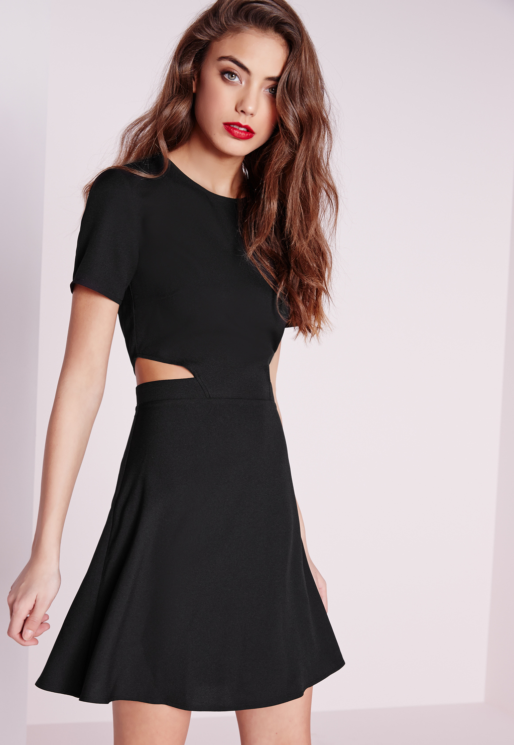 Short Sleeve Crepe Cut Out Waist Skater Dress Black, Black - length: mid thigh; pattern: plain; predominant colour: black; occasions: evening; fit: fitted at waist & bust; style: fit & flare; fibres: polyester/polyamide - stretch; neckline: crew; waist detail: cut out detail; sleeve length: short sleeve; sleeve style: standard; pattern type: fabric; texture group: jersey - stretchy/drapey; season: s/s 2016