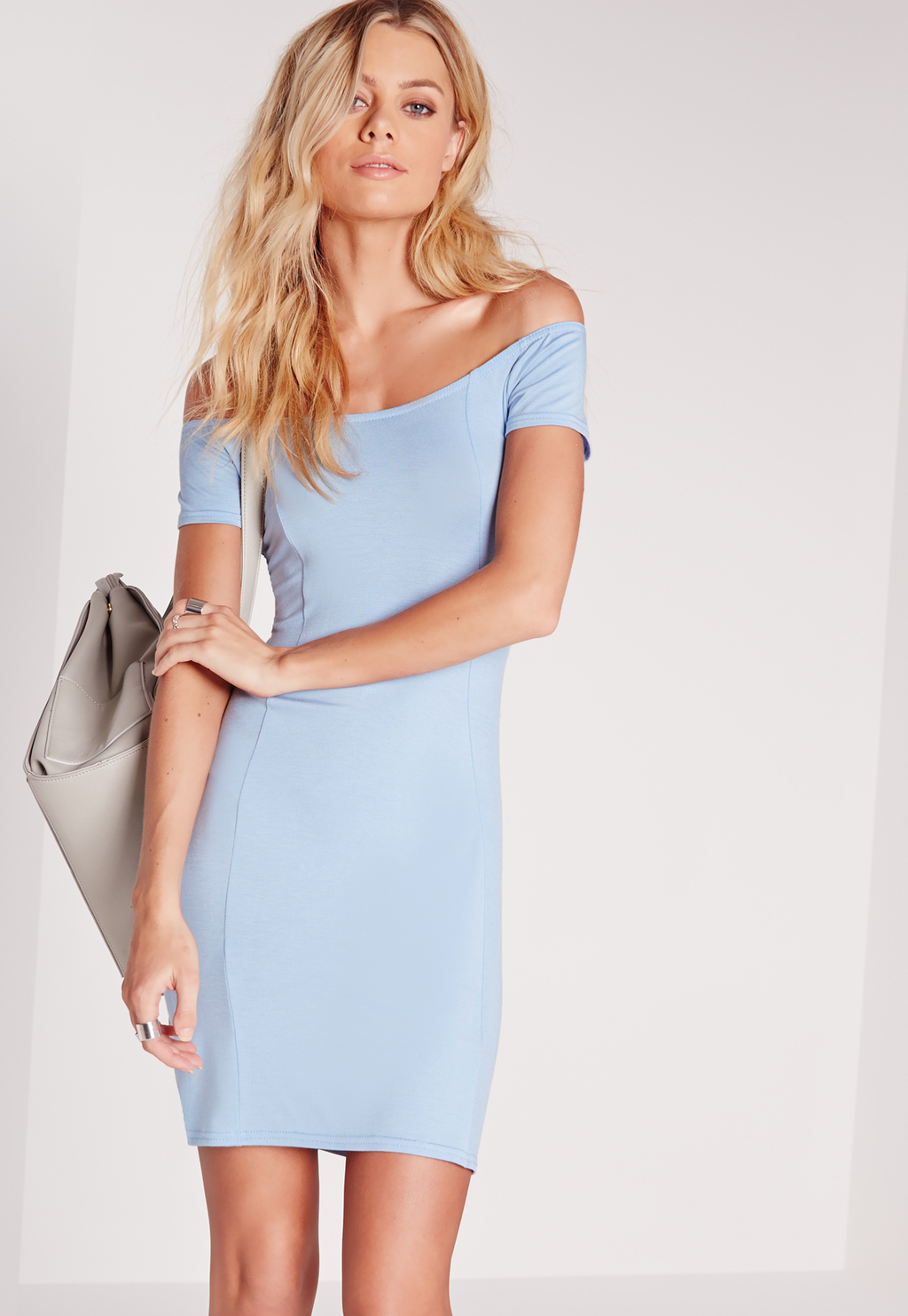 Jersey Bardot Bodycon Dress Blue, Blue - neckline: off the shoulder; fit: tight; pattern: plain; style: bodycon; predominant colour: pale blue; occasions: evening; length: just above the knee; fibres: polyester/polyamide - stretch; sleeve length: short sleeve; sleeve style: standard; texture group: jersey - clingy; pattern type: fabric; season: s/s 2016; wardrobe: event