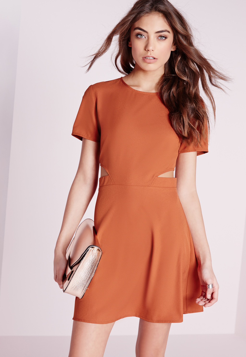 Short Sleeve Crepe Cut Out Waist Skater Dress Rust, Orange - length: mid thigh; pattern: plain; predominant colour: coral; occasions: casual; fit: fitted at waist & bust; style: fit & flare; fibres: polyester/polyamide - stretch; neckline: crew; waist detail: cut out detail; sleeve length: short sleeve; sleeve style: standard; pattern type: fabric; texture group: jersey - stretchy/drapey; season: s/s 2016; wardrobe: highlight