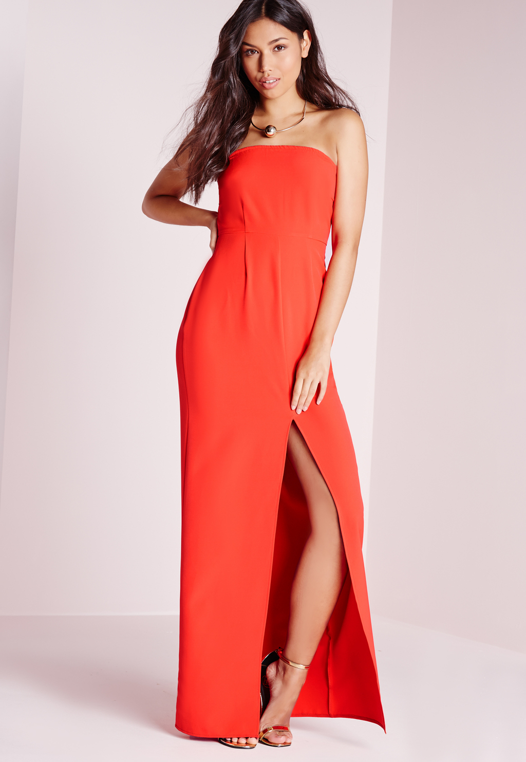 Bandeau Maxi Dress Red, Red - neckline: strapless (straight/sweetheart); pattern: plain; style: maxi dress; sleeve style: strapless; predominant colour: bright orange; occasions: evening; length: floor length; fit: body skimming; fibres: polyester/polyamide - stretch; hip detail: slits at hip; sleeve length: sleeveless; pattern type: fabric; texture group: jersey - stretchy/drapey; season: s/s 2016