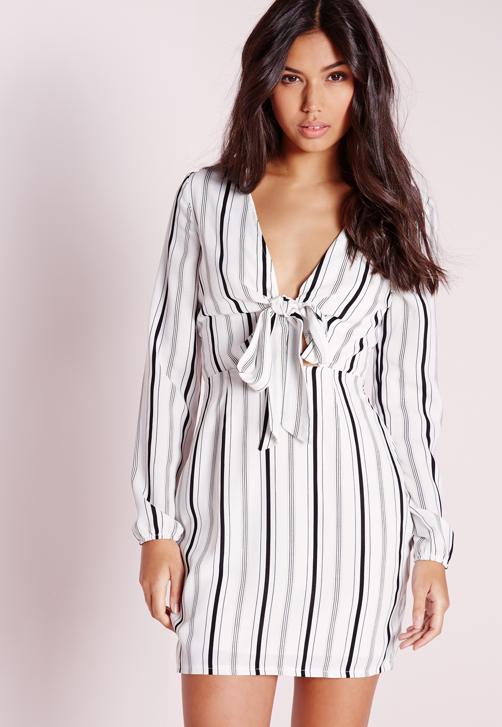 Tie Front Cut Out Stripe Dress White/Black, White - style: shirt; length: mini; neckline: low v-neck; pattern: pinstripe; predominant colour: white; secondary colour: black; occasions: evening; fit: body skimming; fibres: polyester/polyamide - 100%; sleeve length: long sleeve; sleeve style: standard; pattern type: fabric; texture group: other - light to midweight; multicoloured: multicoloured; season: s/s 2016; wardrobe: event