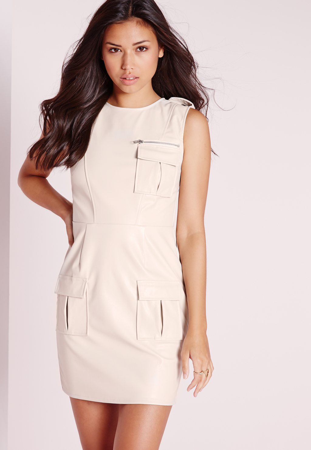 Sleeveless Faux Leather Pocket Front Bodycon Dress Ivory, Ivory - style: shift; length: mini; pattern: plain; sleeve style: sleeveless; predominant colour: ivory/cream; occasions: evening; fit: body skimming; fibres: polyester/polyamide - 100%; neckline: crew; sleeve length: sleeveless; texture group: leather; pattern type: fabric; season: s/s 2016; wardrobe: event