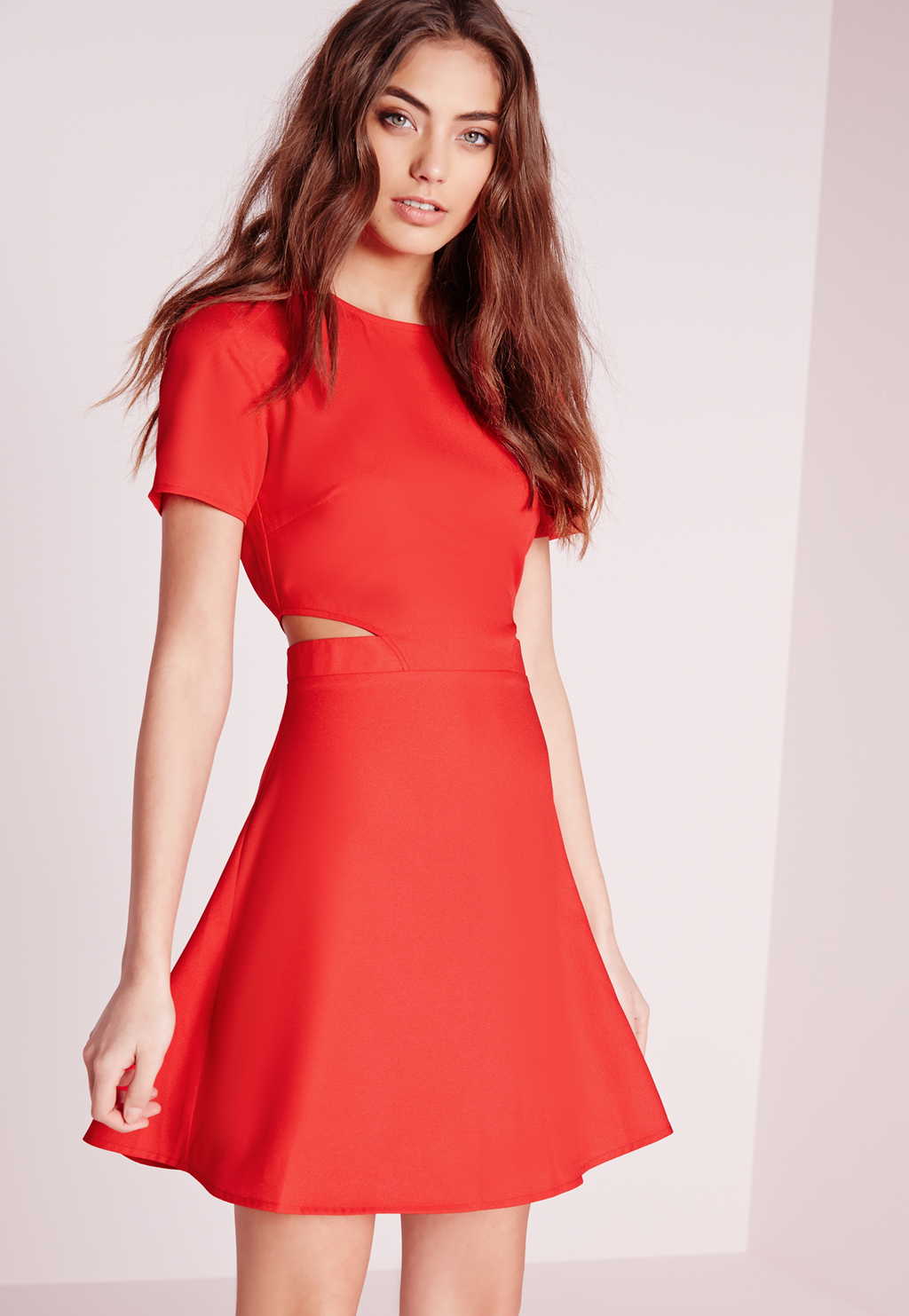 Short Sleeve Crepe Cut Out Waist Skater Dress Red, Red - length: mid thigh; pattern: plain; predominant colour: coral; occasions: evening; fit: fitted at waist & bust; style: fit & flare; fibres: viscose/rayon - stretch; neckline: crew; waist detail: cut out detail; sleeve length: short sleeve; sleeve style: standard; texture group: crepes; pattern type: fabric; season: s/s 2016; wardrobe: event