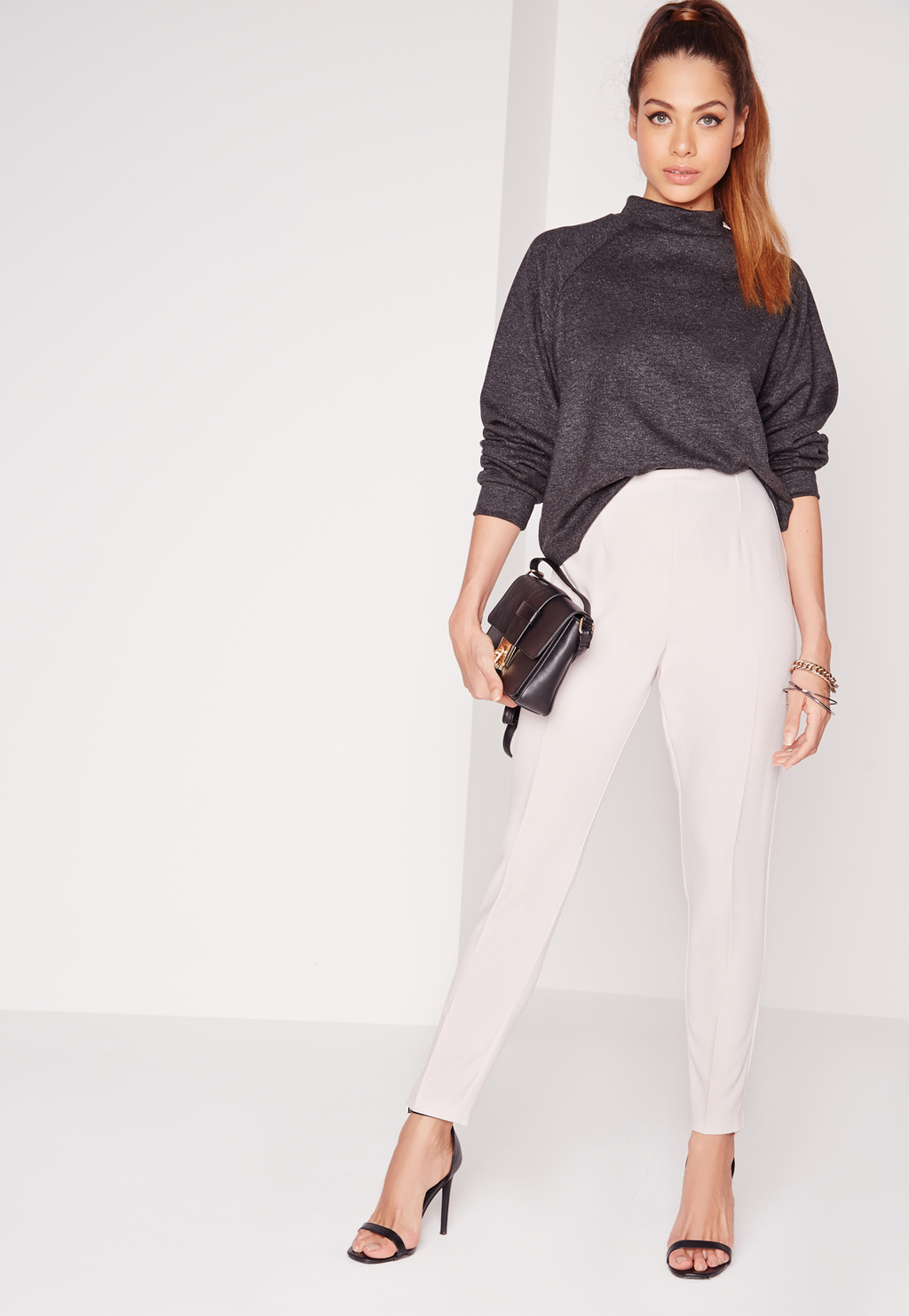 Petite Cigarette Trousers Grey, Grey - pattern: plain; style: peg leg; waist: high rise; predominant colour: light grey; length: ankle length; fibres: polyester/polyamide - mix; fit: tapered; pattern type: fabric; texture group: other - light to midweight; occasions: creative work; season: s/s 2016; wardrobe: basic