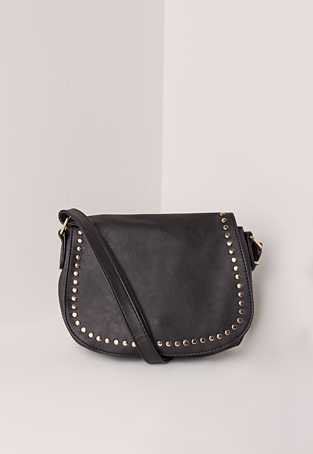Studded Saddle Bag, Black - secondary colour: gold; predominant colour: black; occasions: casual, creative work; type of pattern: standard; style: saddle; length: across body/long; size: standard; material: faux leather; embellishment: studs; pattern: plain; finish: plain; season: s/s 2016; wardrobe: highlight
