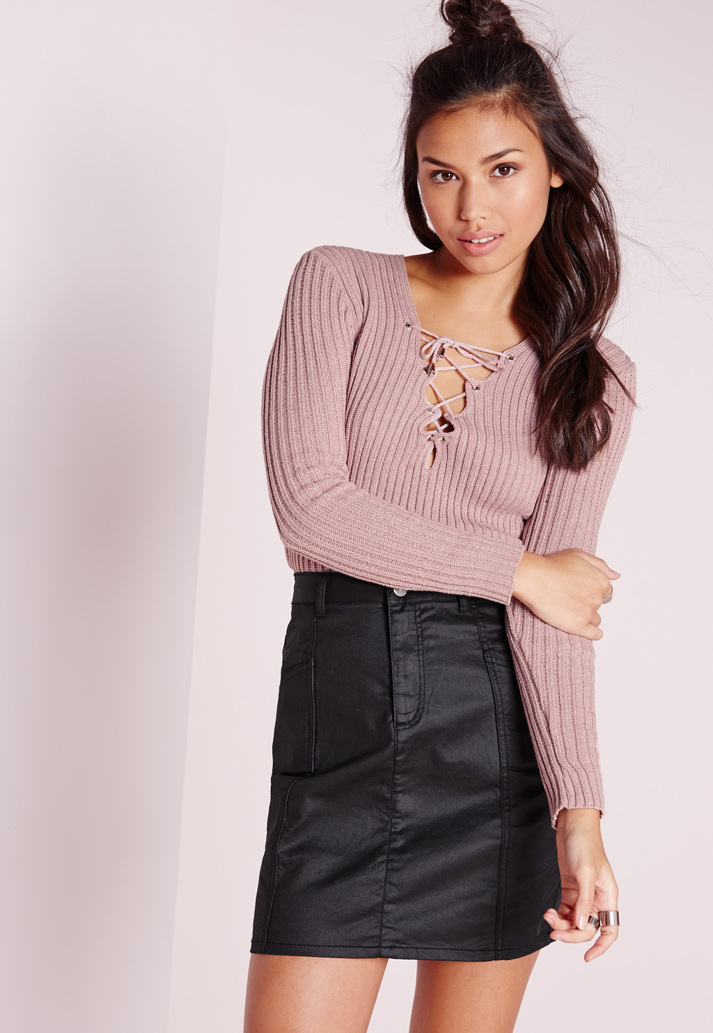 Lace Up Jumper Pink, Pink - pattern: plain; style: standard; occasions: casual, creative work; length: standard; neckline: peep hole neckline; fibres: cotton - mix; fit: slim fit; sleeve length: long sleeve; sleeve style: standard; texture group: knits/crochet; pattern type: knitted - fine stitch; predominant colour: dusky pink; season: s/s 2016; wardrobe: highlight