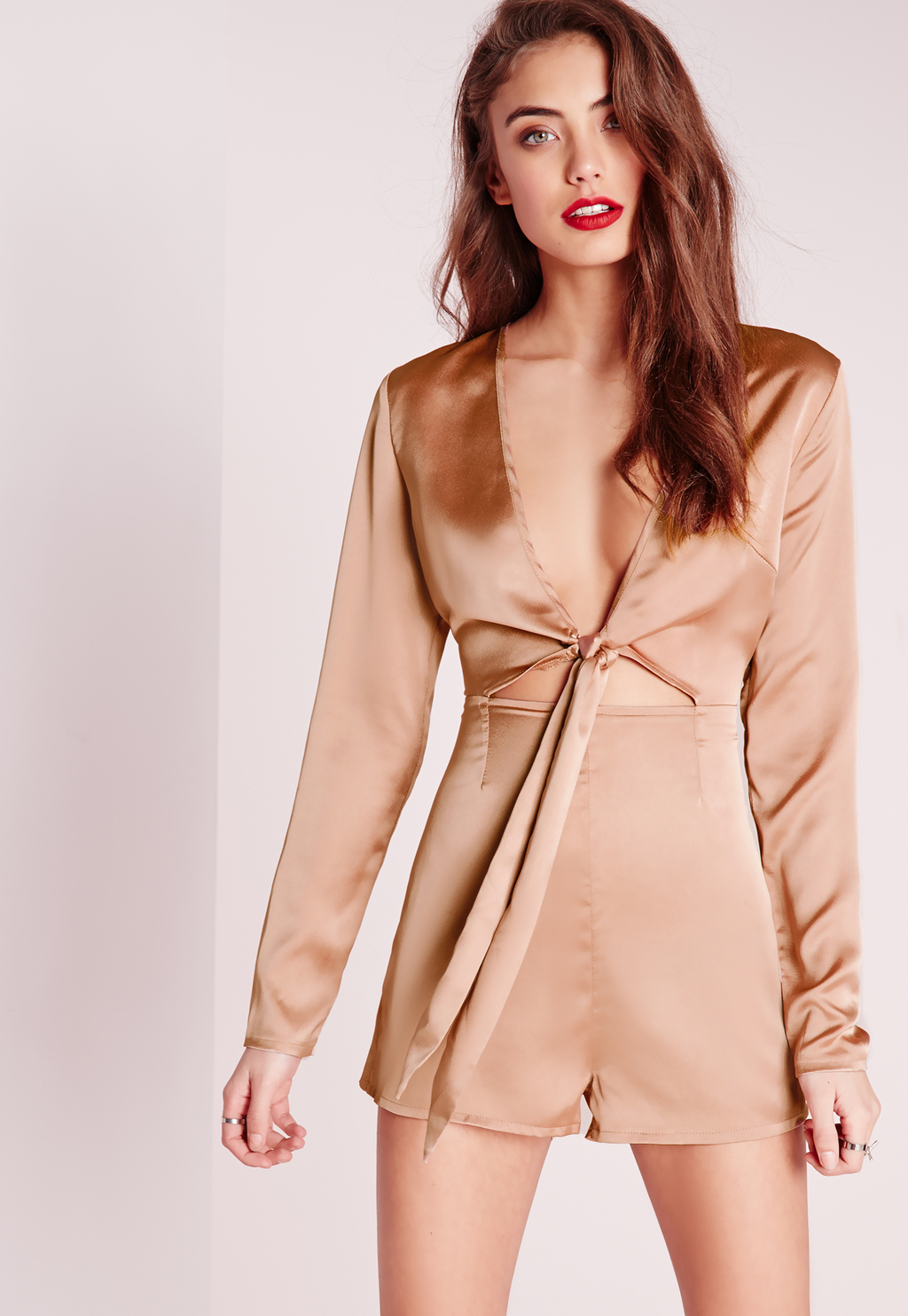 Silky Long Sleeve Tie Front Playsuit Nude, Beige - length: standard; neckline: plunge; pattern: plain; predominant colour: nude; occasions: evening; fit: body skimming; fibres: polyester/polyamide - 100%; sleeve length: long sleeve; sleeve style: standard; texture group: silky - light; style: jumpsuit; pattern type: fabric; season: s/s 2016; wardrobe: event