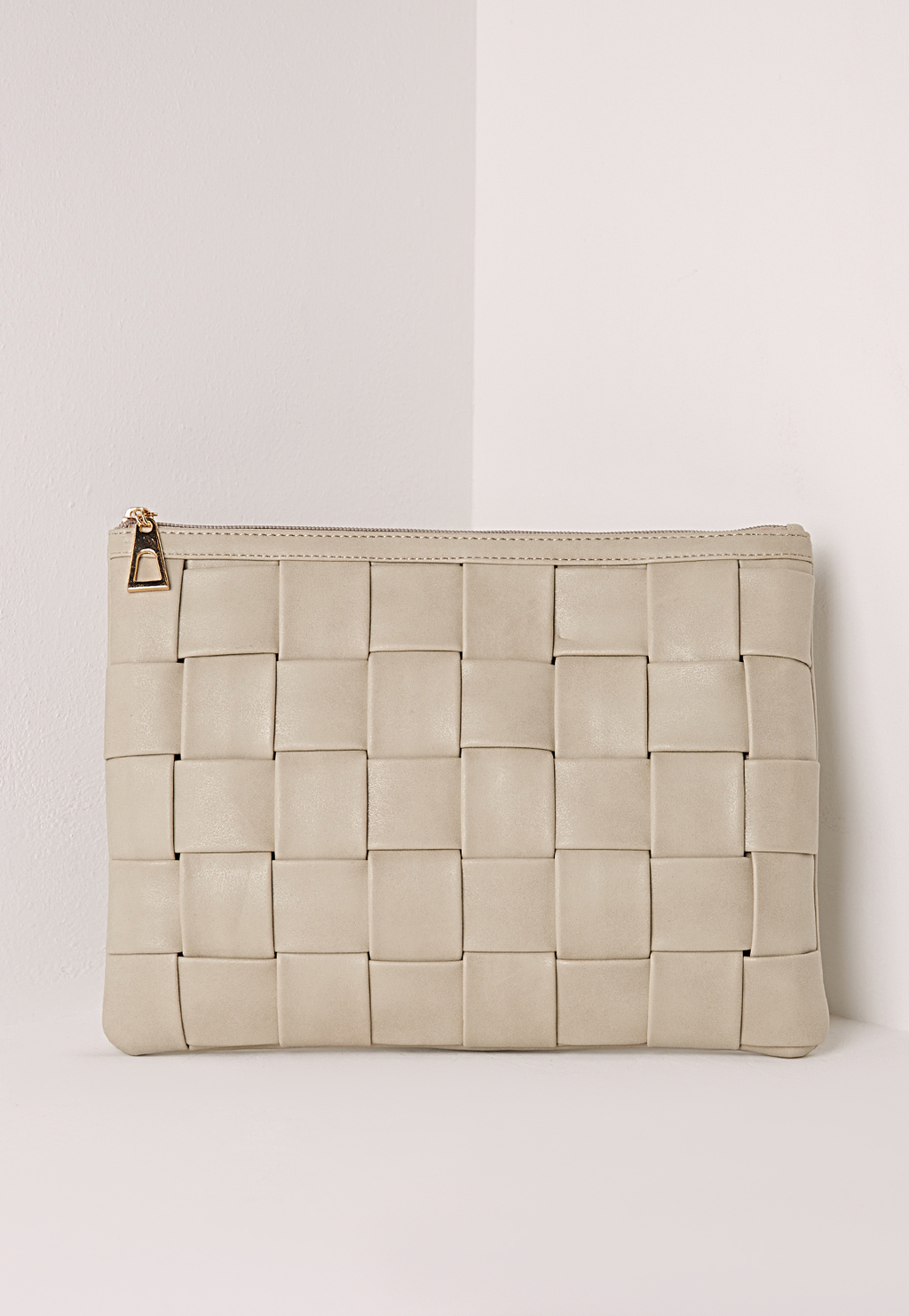 Oversize Twil Weave Suedette Clutch Beige, Beige - predominant colour: stone; occasions: evening, occasion; type of pattern: standard; style: clutch; length: hand carry; size: small; material: faux leather; pattern: plain; finish: plain; season: s/s 2016