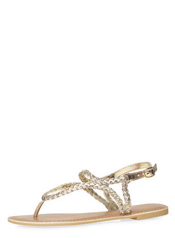 Womens Gold Leather 'shelby' Sandals Gold - predominant colour: gold; occasions: casual, holiday; material: leather; heel height: flat; heel: standard; toe: toe thongs; style: strappy; finish: metallic; pattern: plain; season: s/s 2016; wardrobe: basic