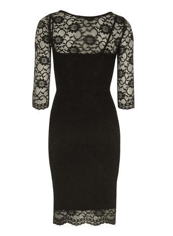 Womens **Jolie Moi Black Scalloped Lace Dress Black - fit: tight; pattern: plain; style: bodycon; bust detail: sheer at bust; predominant colour: black; occasions: evening; length: on the knee; fibres: polyester/polyamide - stretch; neckline: crew; sleeve length: half sleeve; sleeve style: standard; texture group: lace; pattern type: fabric; season: s/s 2016; wardrobe: event