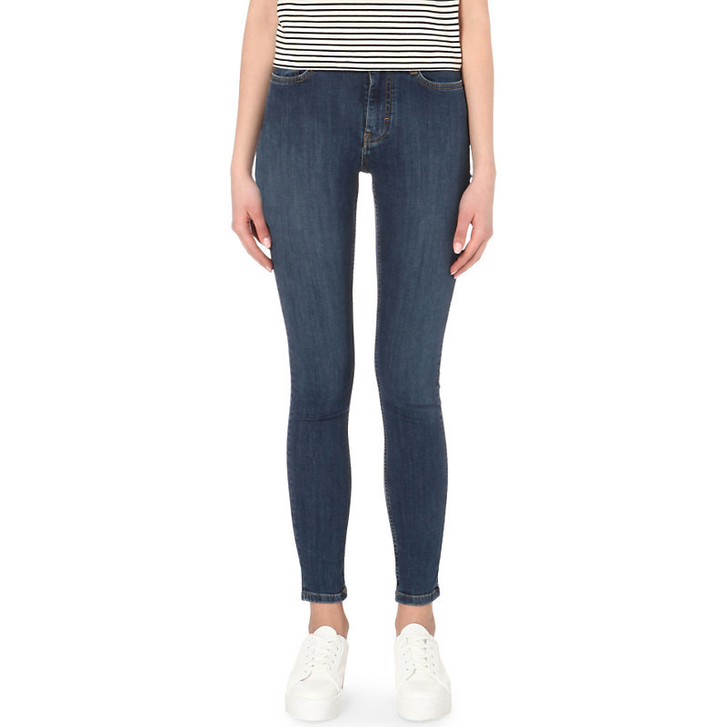 Agripina Stretch Denim Jeans, Women's, Blue - style: skinny leg; length: standard; pattern: plain; pocket detail: traditional 5 pocket; waist: mid/regular rise; predominant colour: navy; occasions: casual; fibres: cotton - stretch; texture group: denim; pattern type: fabric; season: s/s 2016