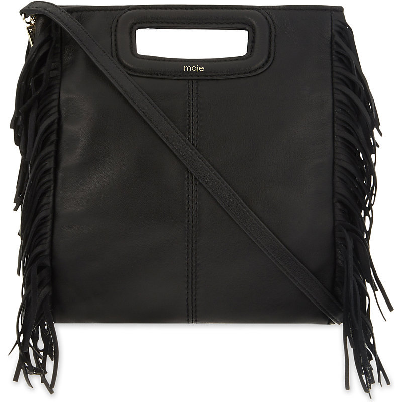The M Fringe Detail Leather Cross Body Bag, Women's, Size: Medium, Black - predominant colour: black; occasions: casual, creative work; type of pattern: standard; style: shoulder; length: across body/long; size: standard; material: leather; embellishment: tassels; pattern: plain; finish: plain; season: s/s 2016