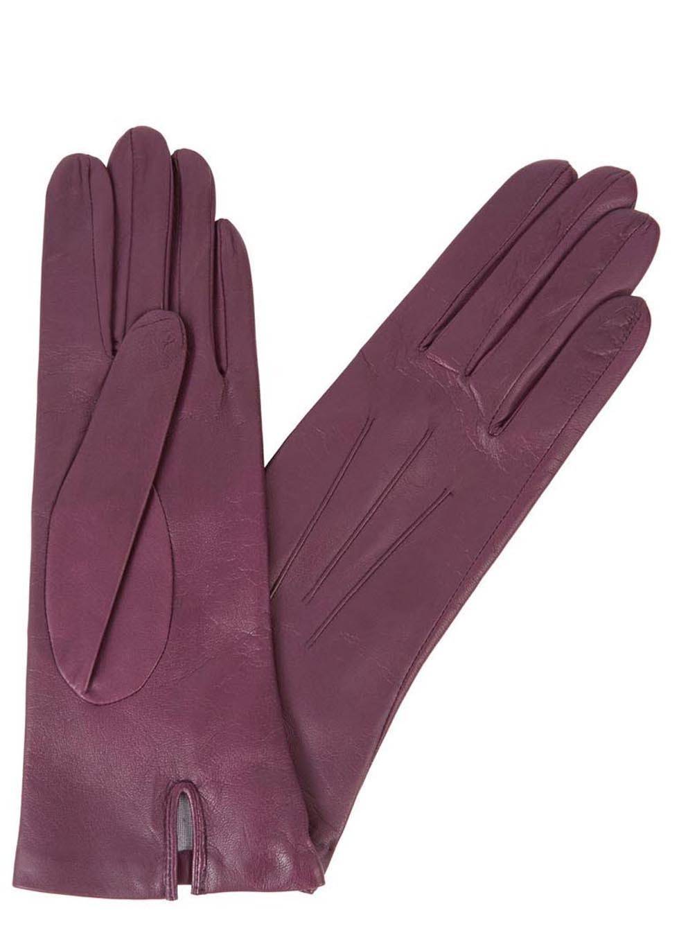 Purple Silk Lined Leather Gloves - predominant colour: aubergine; occasions: casual, creative work; type of pattern: standard; style: standard; length: wrist; material: leather; pattern: plain; season: s/s 2016; wardrobe: highlight