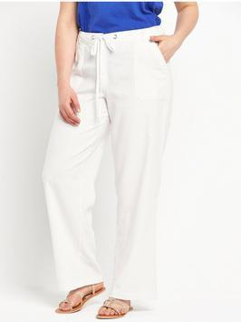 Linen Trousers - length: standard; pattern: plain; pocket detail: pockets at the sides; hip detail: draws attention to hips; waist detail: belted waist/tie at waist/drawstring; waist: mid/regular rise; predominant colour: white; occasions: casual, holiday; fibres: linen - 100%; texture group: linen; fit: wide leg; pattern type: fabric; style: standard; season: s/s 2016; wardrobe: basic; trends: riviera chic