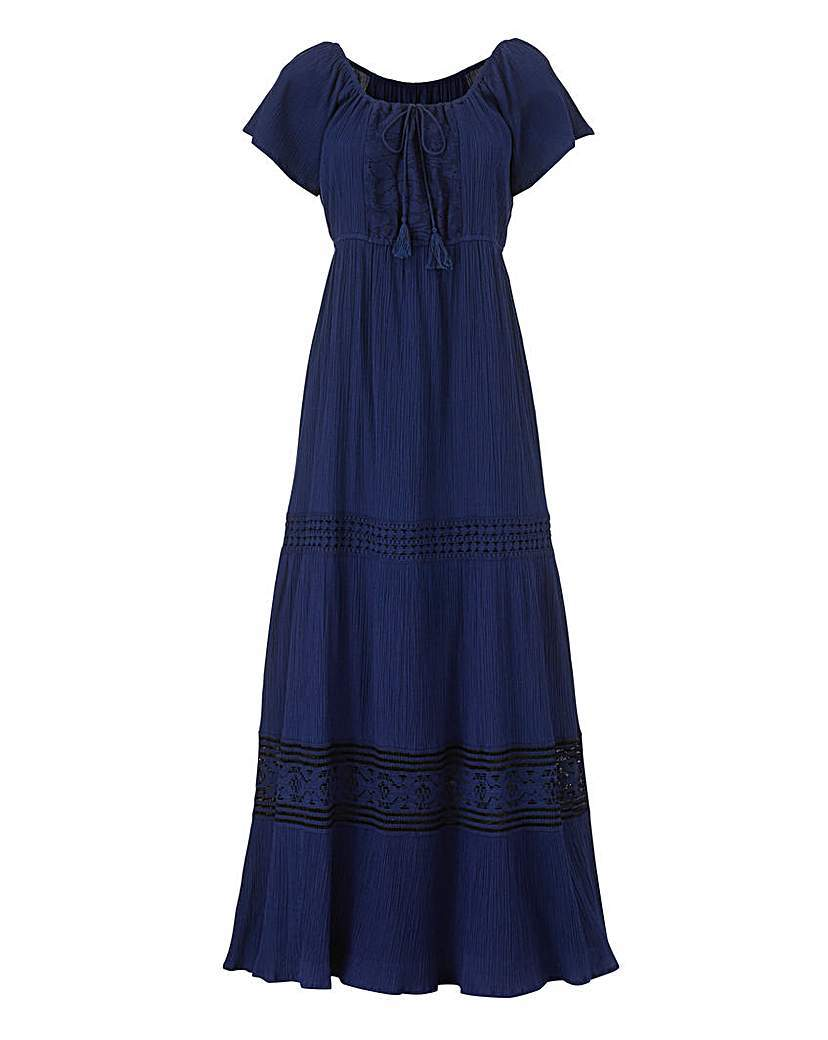 Tiered Lace Trim Short Sleeve Maxi Dress - neckline: round neck; pattern: plain; style: full skirt; predominant colour: navy; occasions: casual; length: floor length; fit: body skimming; fibres: cotton - 100%; sleeve length: short sleeve; sleeve style: standard; pattern type: fabric; texture group: other - light to midweight; embellishment: lace; season: s/s 2016