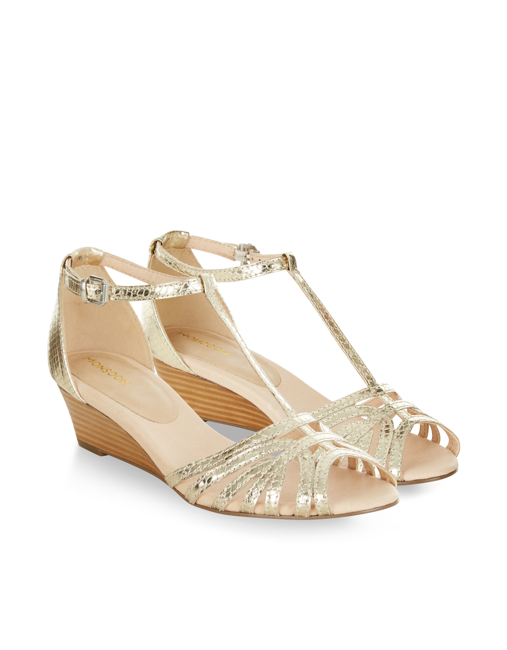 Shakira Demi Wedge Sandal - predominant colour: gold; occasions: evening; material: leather; heel height: mid; heel: wedge; toe: open toe/peeptoe; style: strappy; finish: metallic; pattern: plain; season: s/s 2016