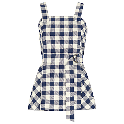 Gita Check Strappy Top, Blue/Multi - sleeve style: sleeveless; pattern: checked/gingham; waist detail: belted waist/tie at waist/drawstring; secondary colour: white; predominant colour: navy; occasions: casual; length: standard; style: top; fibres: polyester/polyamide - stretch; fit: body skimming; sleeve length: sleeveless; neckline: medium square neck; pattern type: fabric; pattern size: standard; texture group: other - light to midweight; multicoloured: multicoloured; season: s/s 2016; wardrobe: highlight
