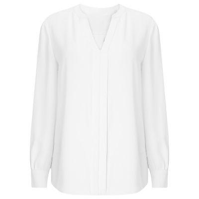 Jeff Banks Blouse, Ivory - neckline: v-neck; pattern: plain; length: below the bottom; style: blouse; predominant colour: white; occasions: casual, creative work; fibres: polyester/polyamide - 100%; fit: body skimming; sleeve length: long sleeve; sleeve style: standard; pattern type: fabric; texture group: other - light to midweight; season: s/s 2016; wardrobe: basic
