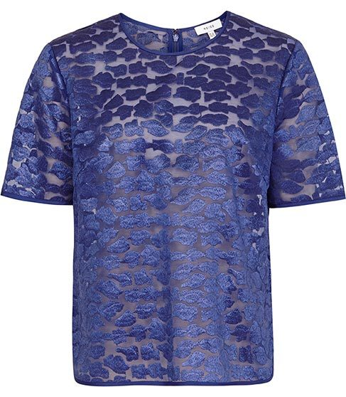 Ora Short Sleeved Evening Top - predominant colour: royal blue; occasions: evening; length: standard; style: top; fibres: nylon - 100%; fit: body skimming; neckline: crew; sleeve length: short sleeve; sleeve style: standard; pattern type: fabric; pattern: patterned/print; texture group: other - light to midweight; season: s/s 2016; wardrobe: event