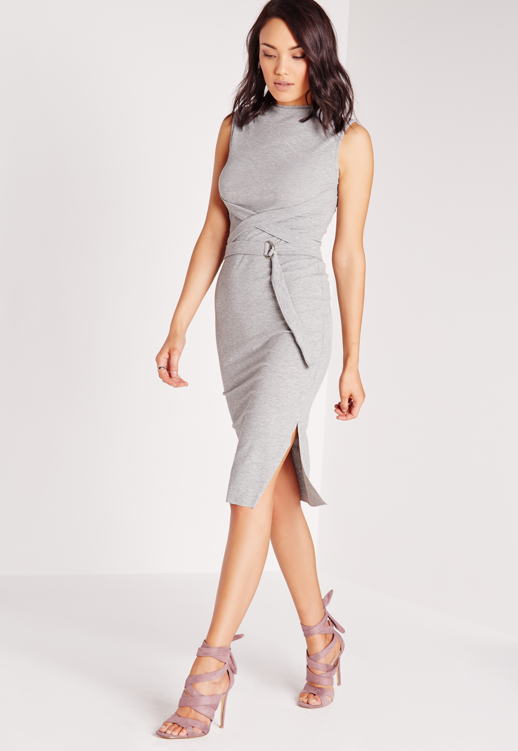 Sleeveless High Neck Wrap Belt Bodycon Dress Grey, Grey - fit: tight; pattern: plain; sleeve style: sleeveless; neckline: high neck; style: bodycon; waist detail: belted waist/tie at waist/drawstring; predominant colour: light grey; occasions: evening; length: on the knee; fibres: polyester/polyamide - stretch; sleeve length: sleeveless; texture group: jersey - clingy; pattern type: fabric; season: s/s 2016; wardrobe: event