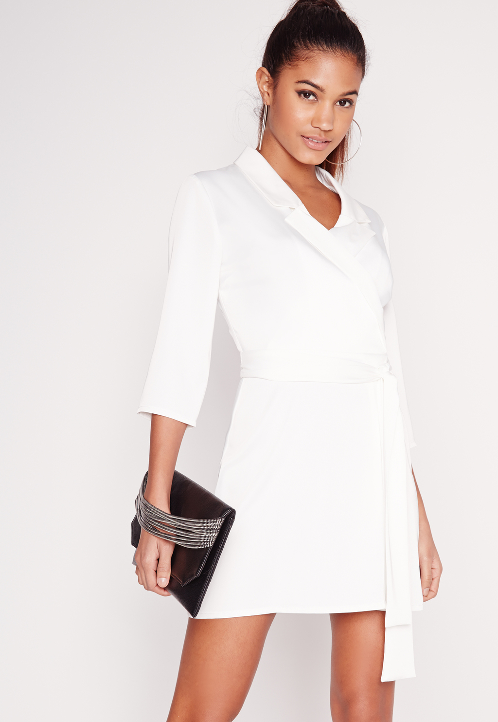 Silky Wrap Blazer Dress White, White - style: shirt; length: mid thigh; neckline: shirt collar/peter pan/zip with opening; fit: tailored/fitted; pattern: plain; waist detail: belted waist/tie at waist/drawstring; predominant colour: white; occasions: casual; fibres: polyester/polyamide - 100%; sleeve length: 3/4 length; sleeve style: standard; pattern type: fabric; texture group: other - light to midweight; season: s/s 2016; wardrobe: basic
