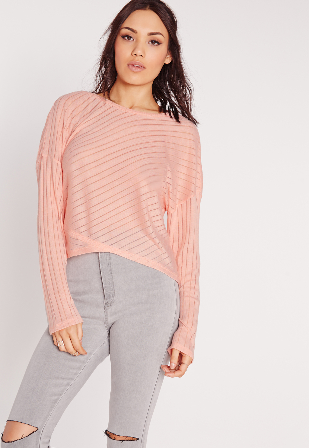 Sheer Stripe Rib Panel Top Coral, Pink - neckline: slash/boat neckline; pattern: striped; predominant colour: pink; occasions: casual; length: standard; style: top; fibres: polyester/polyamide - mix; fit: body skimming; sleeve length: long sleeve; sleeve style: standard; pattern type: fabric; texture group: jersey - stretchy/drapey; season: s/s 2016