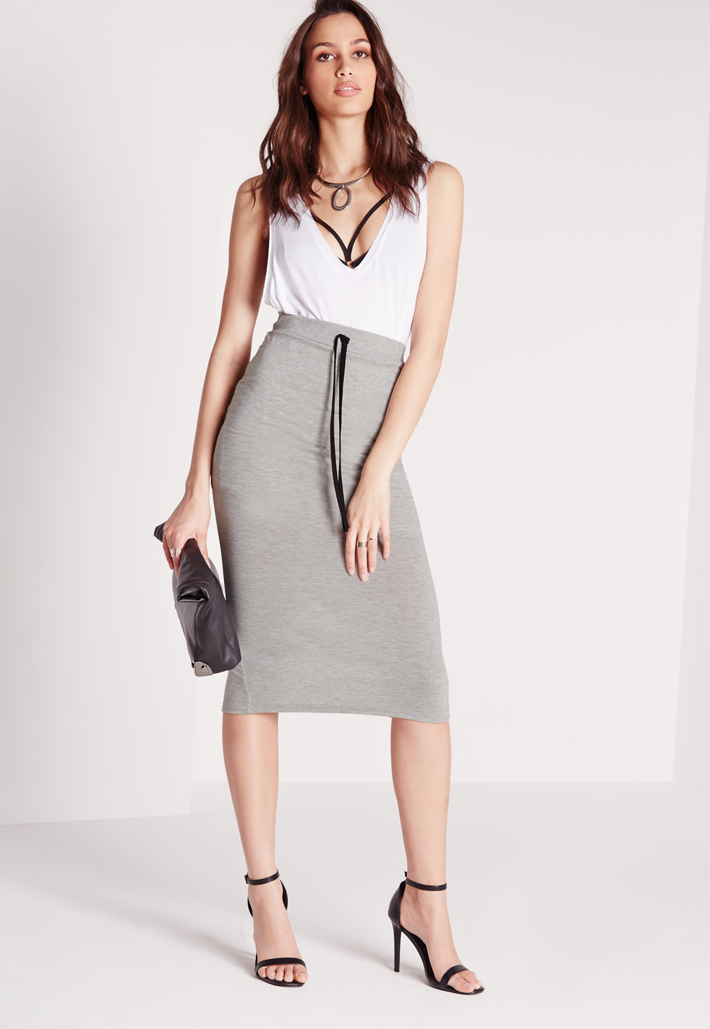 Drawstring Longline Midi Grey, Grey - length: below the knee; pattern: plain; style: pencil; fit: tight; waist detail: belted waist/tie at waist/drawstring; waist: mid/regular rise; predominant colour: light grey; occasions: casual; fibres: viscose/rayon - stretch; texture group: jersey - clingy; pattern type: fabric; season: s/s 2016; wardrobe: basic