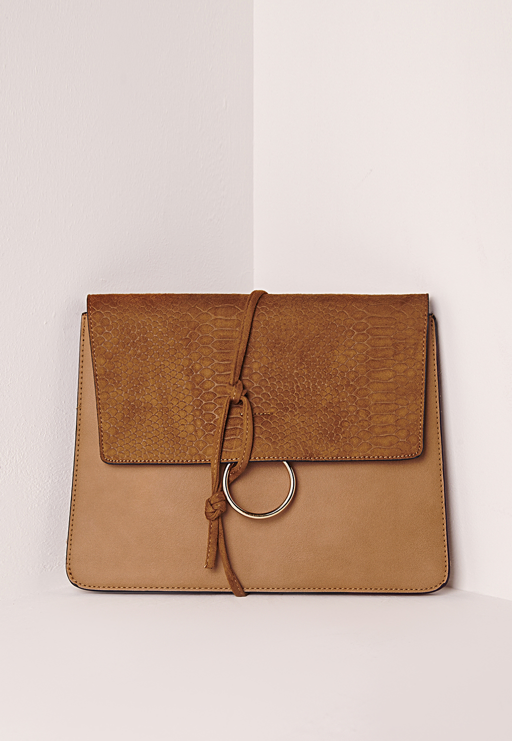 Thread Through Clutch Bag Tan, Brown - predominant colour: camel; occasions: occasion; type of pattern: standard; style: clutch; length: hand carry; size: standard; material: faux leather; pattern: plain; finish: plain; season: s/s 2016; wardrobe: event