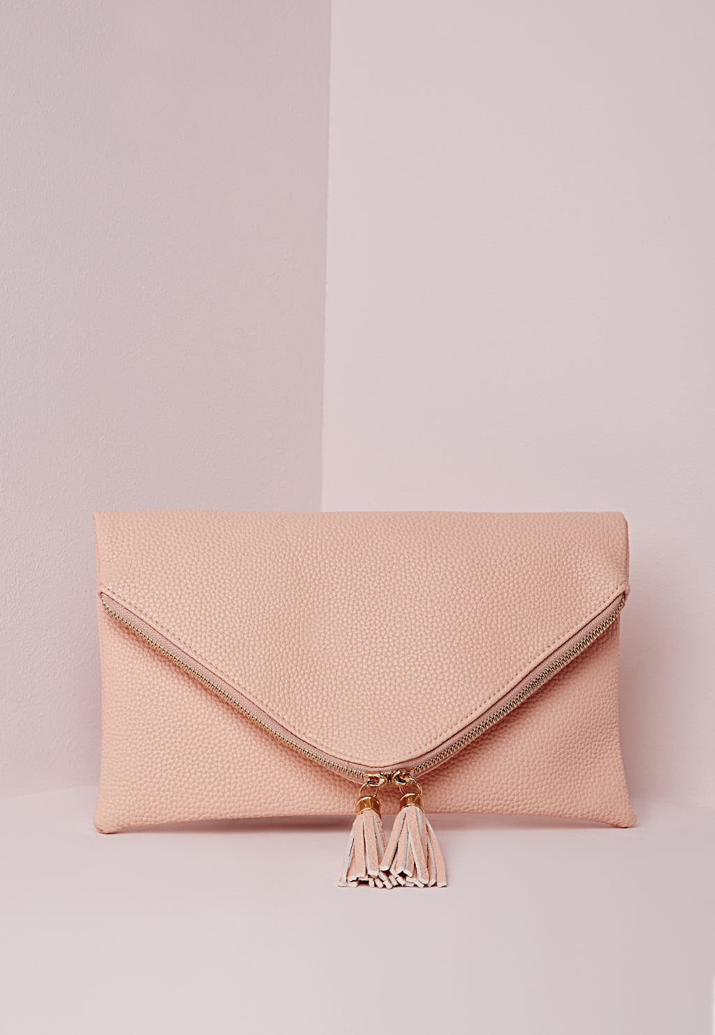 Double Tassel Zipped Envelope Clutch Nude, Beige - predominant colour: nude; occasions: evening; type of pattern: standard; style: clutch; length: hand carry; size: standard; material: faux leather; embellishment: fringing; pattern: plain; finish: plain; season: s/s 2016