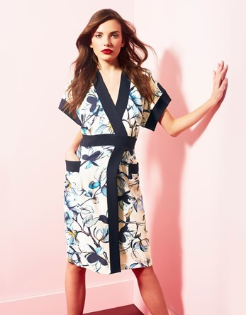 Floral Wrap Dress - style: faux wrap/wrap; neckline: low v-neck; fit: tailored/fitted; sleeve style: kimono; predominant colour: ivory/cream; secondary colour: turquoise; length: on the knee; fibres: polyester/polyamide - stretch; occasions: occasion; sleeve length: half sleeve; pattern type: fabric; pattern size: standard; pattern: florals; texture group: woven light midweight; multicoloured: multicoloured; season: s/s 2016; wardrobe: event