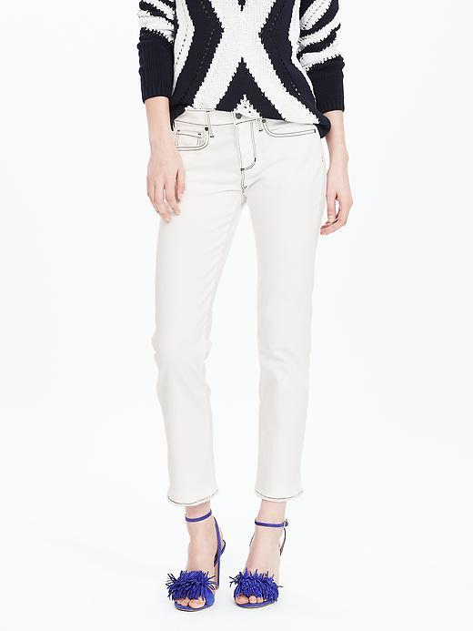White Straight Cropped Jean Lily Wash - style: skinny leg; pattern: plain; pocket detail: traditional 5 pocket; waist: mid/regular rise; predominant colour: white; occasions: casual; length: ankle length; fibres: cotton - stretch; texture group: denim; pattern type: fabric; season: s/s 2016; wardrobe: highlight