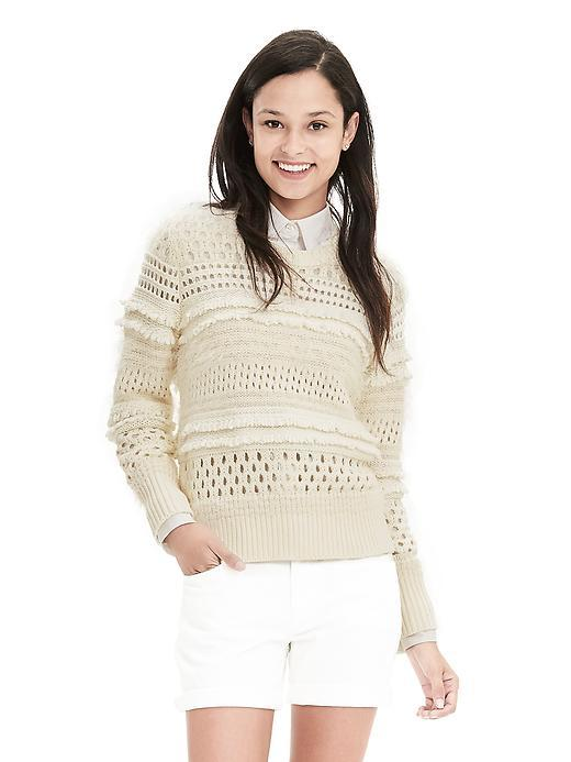 Fringe Mesh Pullover Cocoon - pattern: plain; style: standard; predominant colour: ivory/cream; occasions: casual; length: standard; fibres: cotton - mix; fit: standard fit; neckline: crew; sleeve length: long sleeve; sleeve style: standard; texture group: knits/crochet; pattern type: fabric; season: s/s 2016; wardrobe: basic