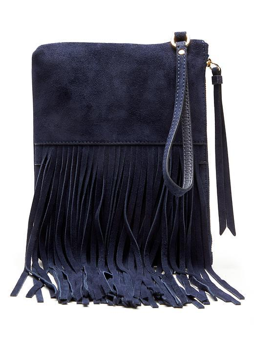 Italian Suede Fringe Small Pouch Preppy Navy - predominant colour: navy; type of pattern: standard; style: grab bag; length: hand carry; size: small; material: suede; embellishment: fringing; pattern: plain; finish: plain; occasions: creative work; season: s/s 2016; wardrobe: investment