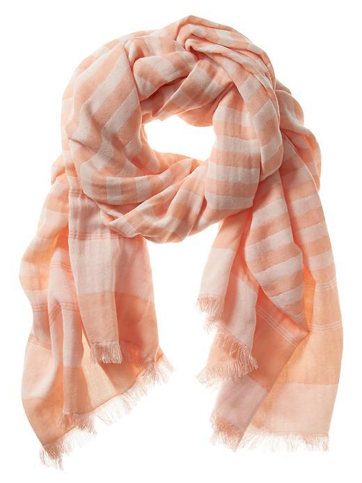 Zoe Scarf Perfect Peach - predominant colour: pink; occasions: casual, creative work; type of pattern: light; style: regular; size: standard; material: fabric; pattern: striped; season: s/s 2016; wardrobe: highlight