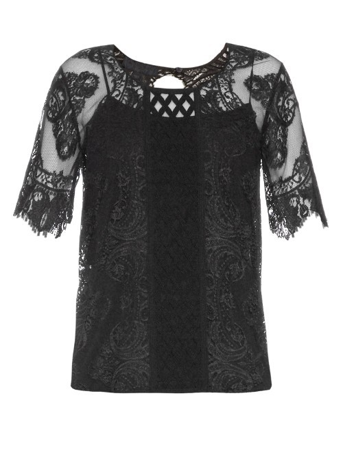 Round Neck Contrast Lace Top - neckline: round neck; predominant colour: black; occasions: evening; length: standard; style: top; fibres: nylon - mix; fit: straight cut; sleeve length: half sleeve; sleeve style: standard; texture group: lace; pattern type: fabric; pattern size: standard; pattern: patterned/print; embellishment: lace; season: s/s 2016; wardrobe: event