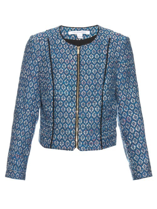 Rylan Jacket - style: single breasted blazer; collar: round collar/collarless; length: below the bottom; predominant colour: royal blue; secondary colour: pale blue; fit: tailored/fitted; fibres: polyester/polyamide - 100%; sleeve length: long sleeve; sleeve style: standard; collar break: high; pattern type: fabric; pattern size: standard; pattern: patterned/print; texture group: woven light midweight; occasions: creative work; season: s/s 2016