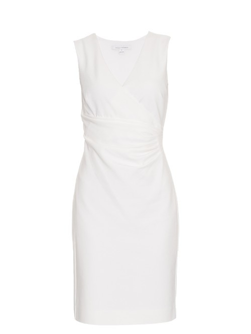 Layne Dress - style: shift; length: mid thigh; neckline: v-neck; pattern: plain; sleeve style: sleeveless; predominant colour: white; occasions: evening; fit: body skimming; fibres: polyester/polyamide - mix; sleeve length: short sleeve; pattern type: fabric; texture group: other - light to midweight; season: s/s 2016; wardrobe: event