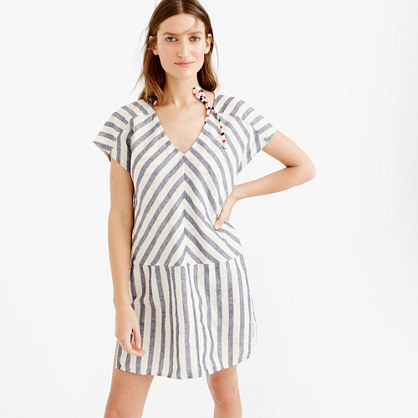 Striped Beach Tunic - neckline: v-neck; sleeve style: raglan; pattern: striped; style: tunic; predominant colour: ivory/cream; occasions: casual, holiday; fibres: cotton - mix; fit: body skimming; length: mid thigh; sleeve length: short sleeve; pattern type: fabric; texture group: other - light to midweight; pattern size: big & busy (top); season: s/s 2016