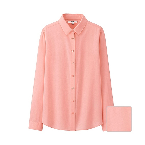 Women Silk Touch Long Sleeve Blouse (7 Colours) Light Orange - neckline: shirt collar/peter pan/zip with opening; pattern: plain; length: below the bottom; style: shirt; predominant colour: coral; occasions: casual, creative work; fibres: polyester/polyamide - mix; fit: straight cut; sleeve length: long sleeve; sleeve style: standard; texture group: crepes; pattern type: fabric; season: s/s 2016; wardrobe: highlight