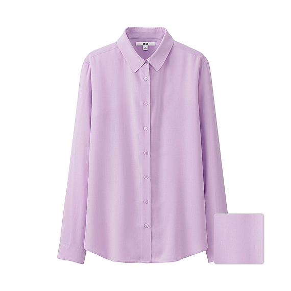 Women Silk Touch Long Sleeve Blouse (7 Colours) Purple - neckline: shirt collar/peter pan/zip with opening; pattern: plain; length: below the bottom; style: blouse; predominant colour: lilac; occasions: casual, creative work; fibres: silk - 100%; fit: body skimming; sleeve length: long sleeve; sleeve style: standard; pattern type: fabric; texture group: other - light to midweight; season: s/s 2016; wardrobe: highlight