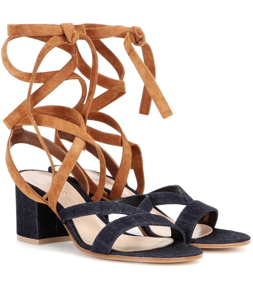Janis Low Denim And Suede Sandals - secondary colour: navy; predominant colour: tan; occasions: casual, holiday, creative work; material: suede; heel height: mid; ankle detail: ankle strap; heel: block; toe: open toe/peeptoe; style: strappy; finish: plain; pattern: plain; season: s/s 2016; wardrobe: highlight