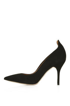 Giddy Curve Tab Court Shoes - predominant colour: black; occasions: evening, occasion; material: suede; heel height: high; heel: stiletto; toe: pointed toe; style: courts; finish: plain; pattern: plain; season: s/s 2016