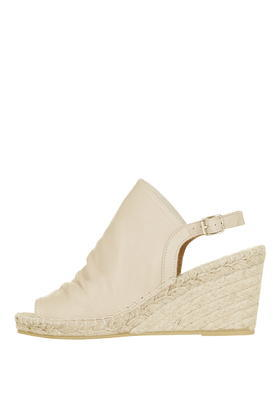 Weekend Espadrille Wedge - predominant colour: ivory/cream; occasions: casual, holiday; material: suede; heel height: high; heel: wedge; toe: open toe/peeptoe; style: standard; finish: plain; pattern: plain; shoe detail: platform; season: s/s 2016; wardrobe: investment