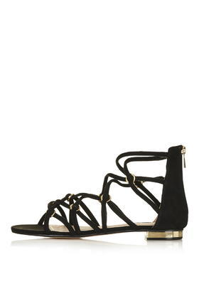 Hendon Strappy Sandal - predominant colour: black; occasions: casual; material: fabric; heel height: flat; ankle detail: ankle strap; heel: standard; toe: open toe/peeptoe; style: strappy; finish: plain; pattern: plain; season: s/s 2016; wardrobe: basic