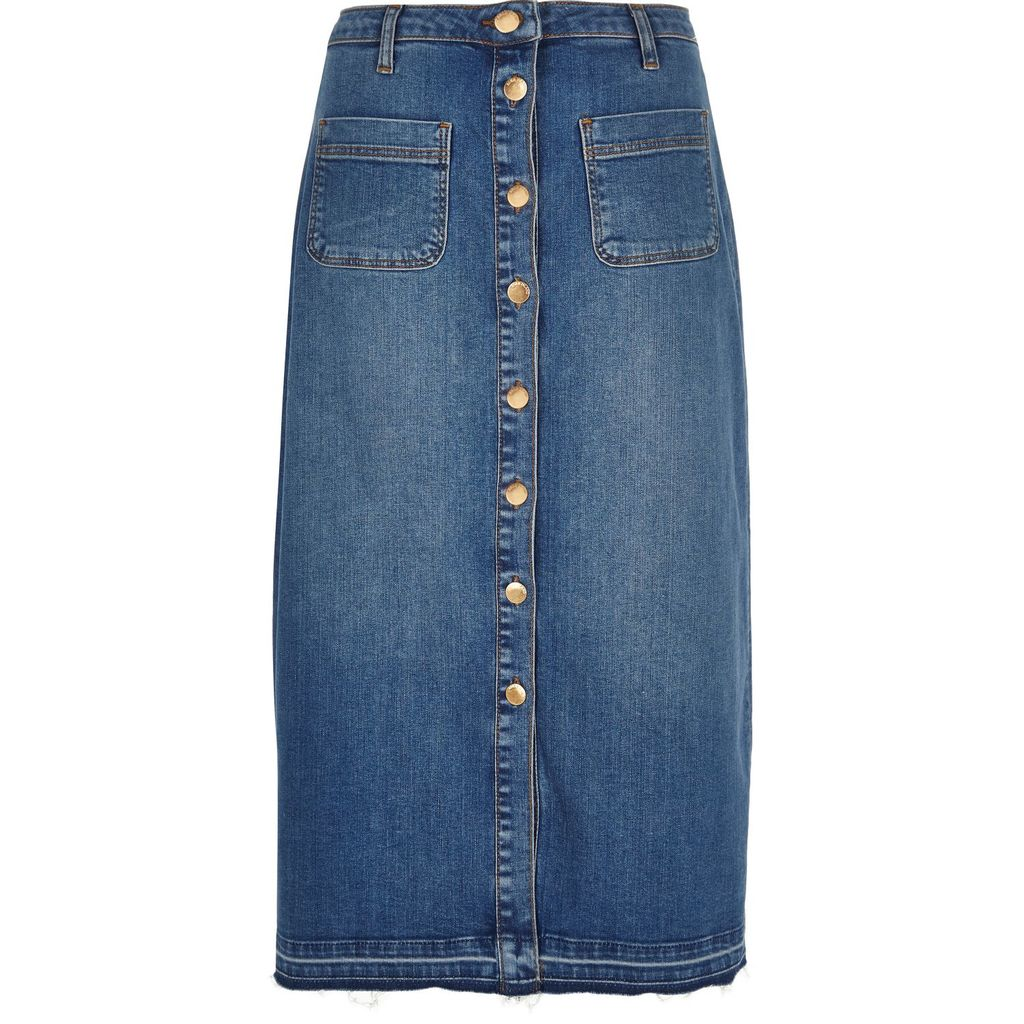 Womens Mid Blue Button Up Midi Skirt - length: below the knee; pattern: plain; style: straight; waist: high rise; predominant colour: denim; occasions: casual, creative work; fibres: cotton - stretch; texture group: denim; fit: straight cut; pattern type: fabric; season: s/s 2016
