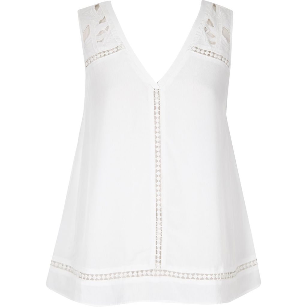 Womens White Embroidered Tank Top - neckline: low v-neck; pattern: plain; sleeve style: sleeveless; predominant colour: white; occasions: casual, creative work; length: standard; style: top; fibres: viscose/rayon - 100%; fit: body skimming; sleeve length: sleeveless; pattern type: fabric; texture group: other - light to midweight; embellishment: embroidered; season: s/s 2016; wardrobe: highlight